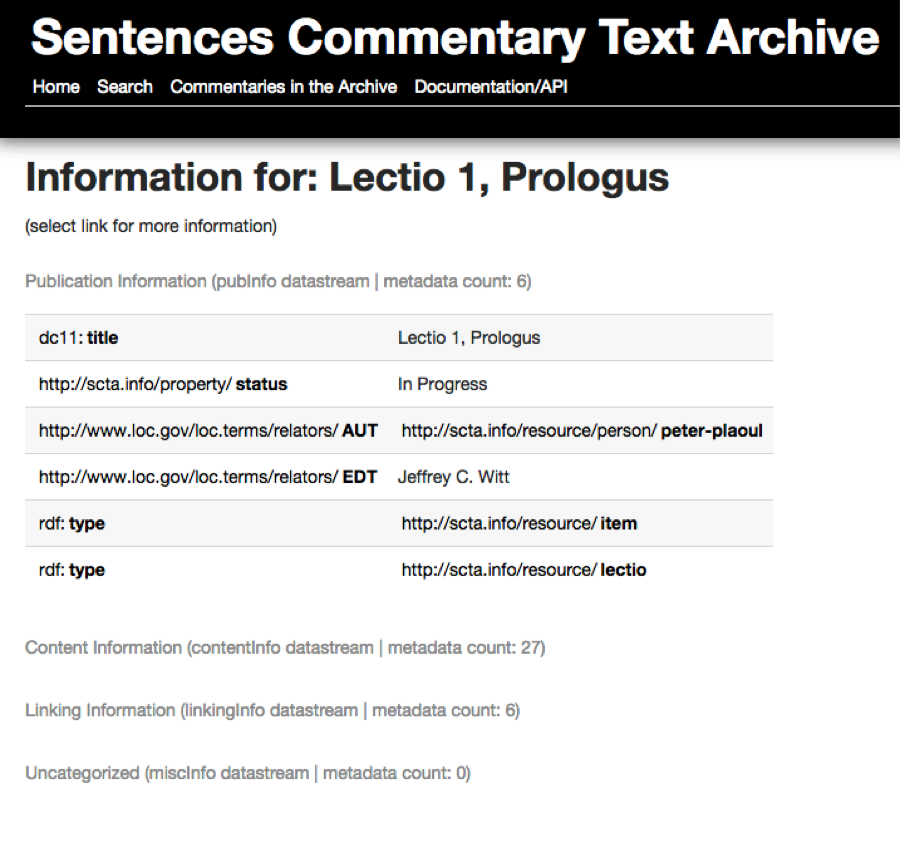 The Sentences Commentary Text Archive: Laying the Foundation for the Analysis, Use, and Reuse of a Tradition